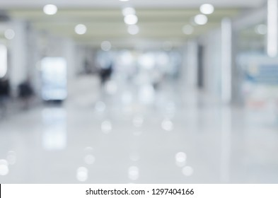 blur abstract interior transparent hall background of shopping mall, office, store, medical, hospital or market.