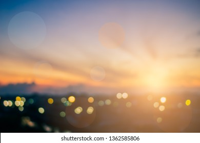 Blur Background Abstract Bokeh with Lighting and Sunrise in the Morning,Dusk