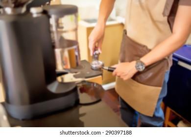 blur background barista make a coffee