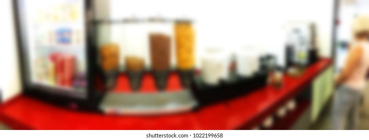 Blur background of buffet restaurant in the hotel