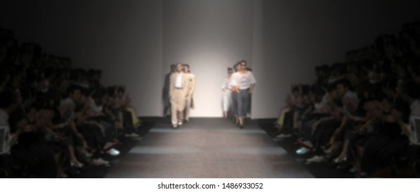 Blur background of Fashion runway catwalk finale show ,out of focus fashion show