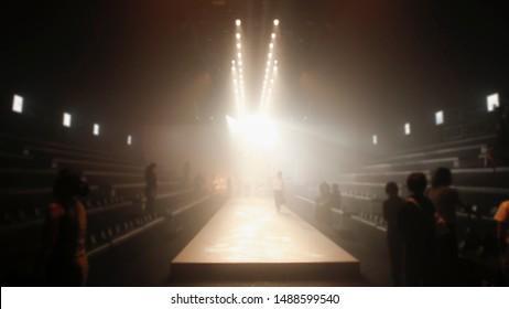 Blur background of  Fashion runway catwalk,Empty runway catwalk out of focus fashion show