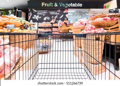 Blur background of goods on shop shelves in supermarket,Bangkok Thailand
