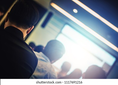 Blur background of happy and fun professional successful business conference town hall meeting use in employee workshop learning, training, lecturing, seminar to create creativity, idea and planning