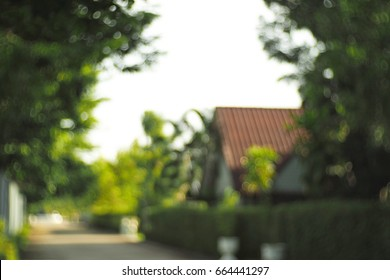 blur background with house in the middle of garden, out of focus, blurred