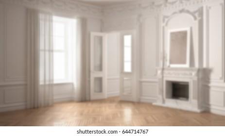 Blur background interior design, classic empty room with big window, fireplace and herringbone wooden parquet floor, 3d illustration