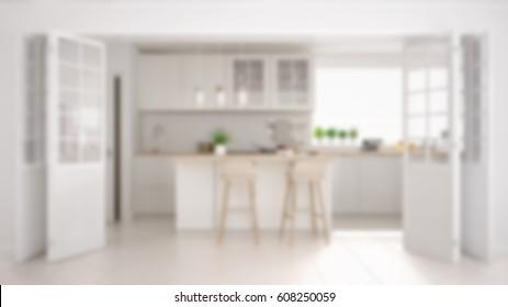 Blur background interior design, scandinavian minimalistic classic kitchen with wooden and white details, 3d illustration