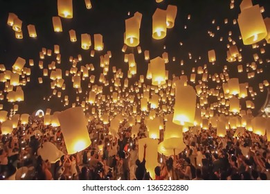 Blur background, no focusing -Abstract image for the background. Mass launch of paper lanterns in the sky