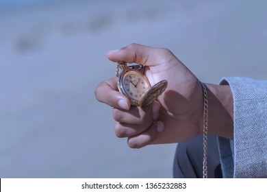 Blur background, no focusing -Abstract image for the background.The old clock in hands