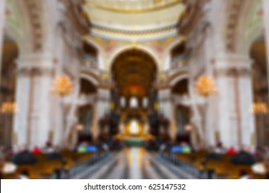 blur background of people praying in a church