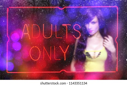 Blur Background Sexy Woman With Adults Only Neon Sign Sex Worker Concept