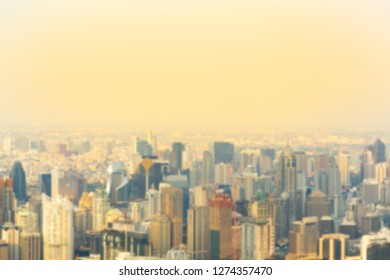 Blur background of view of Bangkok, Thailand. View of City on high tower, use for business background