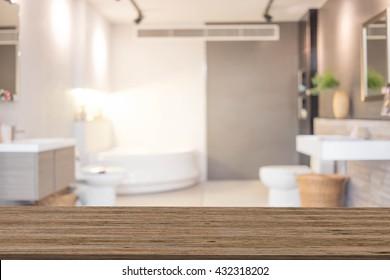 Blur Bathroom Interior of Background, product display template. Bathroom.