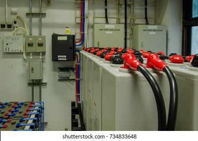 The blur of battery room use for power supply backup telecoms equipment.