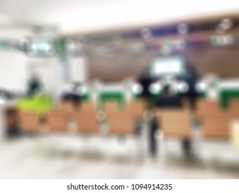 blur blurred building interior at the commercial bank office branch ready for customer on business and financial
