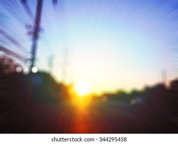 blur blurred near the highway with electric poles