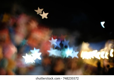 blur bokeh background star from decorative light on Road - can be used for display or montage your products.