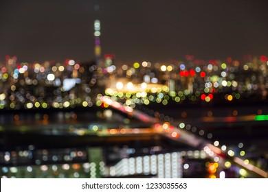 Blur and bokeh ligh of Tokyo skytree tower in Janpan at night light