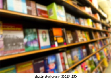 Blur in Book store on shelf of shopping mall for background usage.