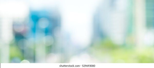 Blur buildings in the city, panoramic banner background