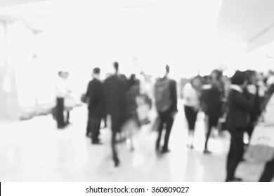 Blur of business Conference in the conference hall. Black and white image.