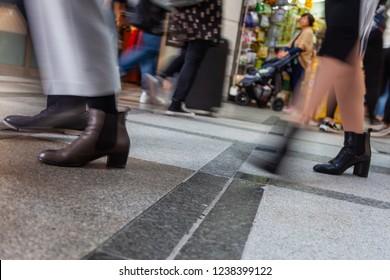Blur business people walking in train station blur motion.