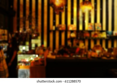 blur cafe interior background, defocus bokeh retail restaurant  backdrop
