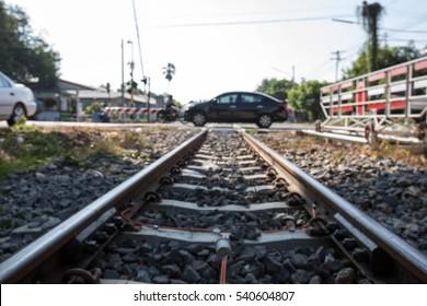 blur the car was crossing the train tracks