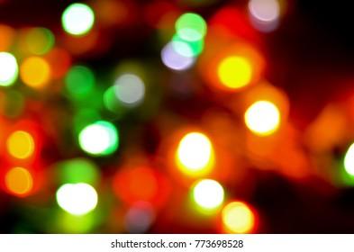 Blur Christmas Lights At Dark Background