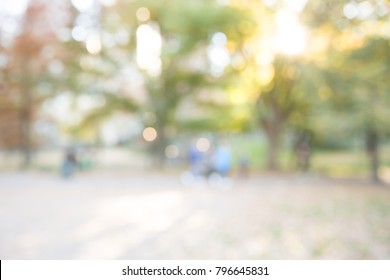BLUR OF CITY PARK IN SUNLIGHT, OUTDOOR BOKEH BACKGROUND