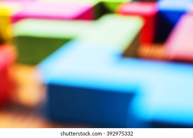 Blur color abstraction. Blurring background, geometric forms, Tetris, Puzzles. Multicolored background