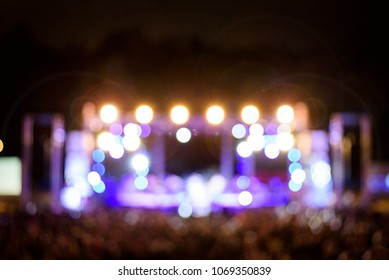Blur colorful Bokeh lighting in concert with audience
