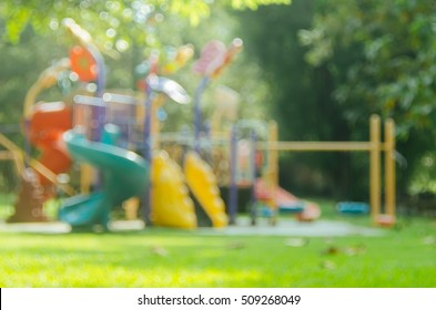 Blur colorful playground in nature green park abstract background. Copy space of sport exercise and health care concept.