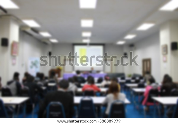 a blur of conference meeting room in university for education lecture.