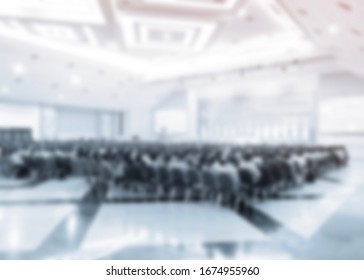 Blur conference room of administrators and teacher. Meeting event planning and taught at the university, primary level. Public business conventions in hall.