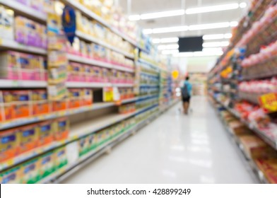 Blur Defocus Background of Woman or Mother shopping in Supermarket or Superstore background