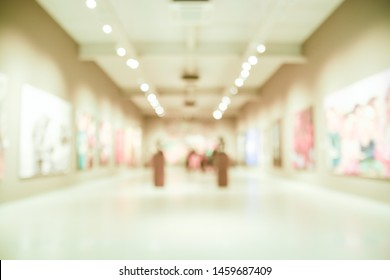 Blur or Defocus image Background of the lobby of modern art center Museum with bokeh