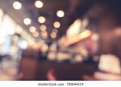 Blur or defocus image of coffee shop or cafeteria with light and shadow for use as Background, vintage or retro effect style