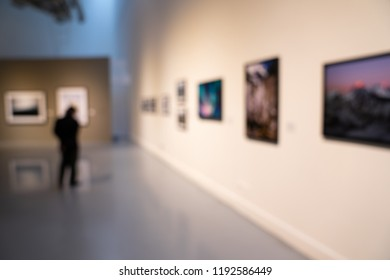 Blur or Defocus image of the lobby of a modern art center as background with bokeh.
