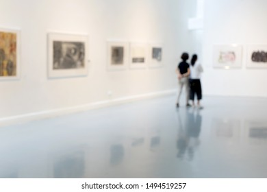 Blur or Defocus image of the lobby of a modern art center white museum room art gallery exhibition display