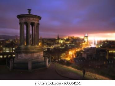 Blur Dreaming Sunset, Calton hill in Edinburgh