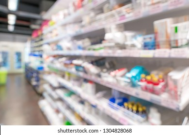 Blur of drugs in the pharmacy store.