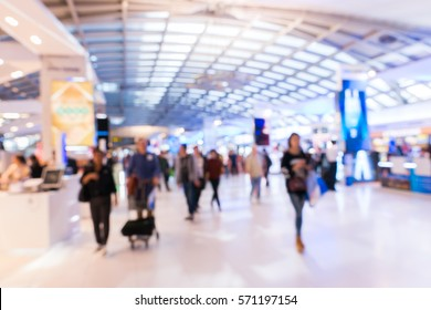 Blur of duty free shop at airport with passengers are walking shopping