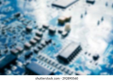 blur of electronic circuit board