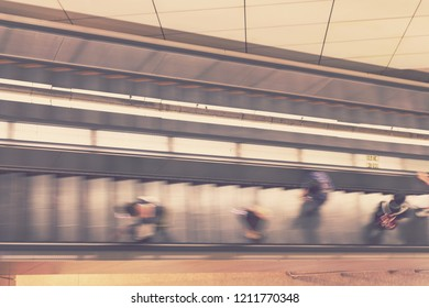 blur escalator top view - blurred background concept
