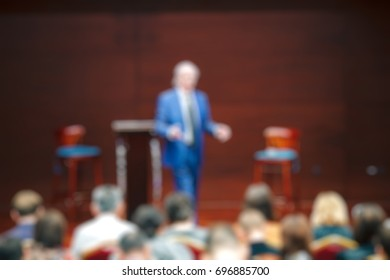 blur event seminar with activity on stage - blurred background - bokeh light vintage tone - business concept.