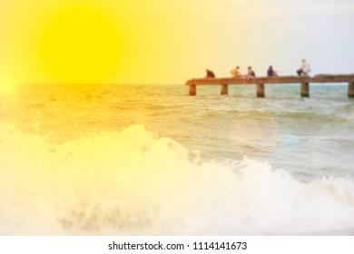 blur fisherman on the bridge