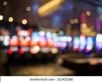 Blur focus of Slots machines in casino. Abstract Background in Vegas Nevada.blurred background