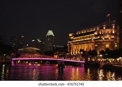 A blur focus or soft focus of night light along river