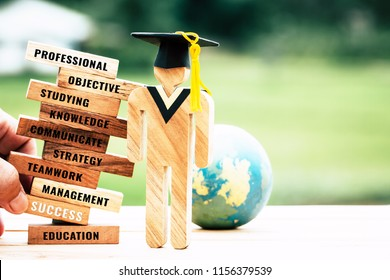 Blur hand placing Student wood with Graduation cap on wooden blocks tower Space for letter e.g success, education, teamwork, studying, strategy etc. Ideas for study in university or college